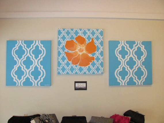 Made to Order- 3 piece abstract- blue, orange and white painting