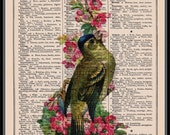 BOGO SALE  Victorian Bird With Flowers Vintage Dictionary Print Vintage Book Print Page Art Upcycled Vintage Book Art