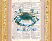 Blue Crab Vintage Dictionary Print Vintage Book Print Page Art Upcycled Vintage Book Art