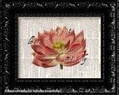 Lotus Flower Print - Vintage Dictionary Print Vintage Book Print Page Art Upcycled Vintage Book Art