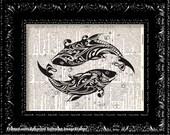Art Deco Whales - Vintage Dictionary Print Vintage Book Print Page Art Upcycled Vintage Book Art