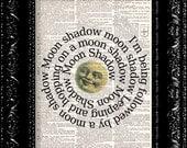 Cat Stevens Moon Shadow Lyrics Vintage Dictionary Print Vintage Book Print Page Art Upcycled Vintage Book Art