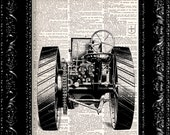 Tractor - Vintage Dictionary Print Vintage Book Print Page Art Upcycled Vintage Book Art