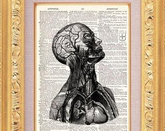 Mans Inner Workings Vintage Dictionary Print Vintage Book Print Page Art Upcycled Vintage Book Art