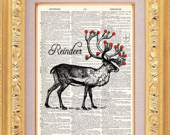 Christmas Deer Vintage Print vintage dictionary book page art print beautifully UpCycled 8x10