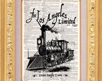 Los Angeles Train Vintage Dictionary Print Vintage Book Print Page Art Upcycled Vintage Book Art