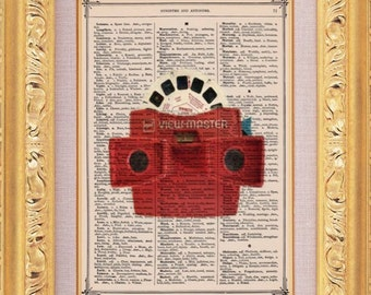 View Master - Vintage Dictionary Print Vintage Book Print Page Art Upcycled Vintage Book Art
