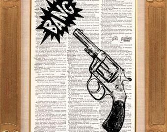 Bang Bang Vintage Dictionary Print Vintage Book Print Page Art Upcycled Vintage Book Art