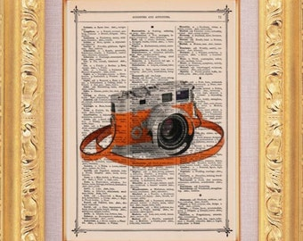 Sale Vintage Camera Print - Vintage Dictionary Print Vintage Book Print Page Art Upcycled Vintage Book Art