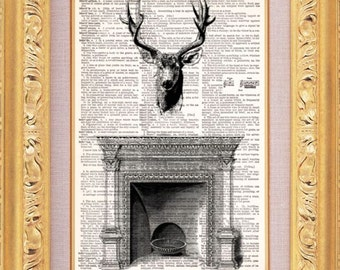 Deer Head Over Fireplace - Vintage Dictionary Print Vintage Book Print Page Art Upcycled Vintage Book Art