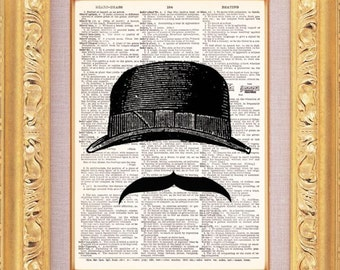 Invisible Man Mustache and Hat -  Vintage Dictionary Print Vintage Book Print Page Art Upcycled Vintage Book Art