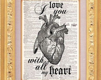 I Love You With All My Heart Vintage Dictionary Print Vintage Book Print Page Art Upcycled Vintage Book Art