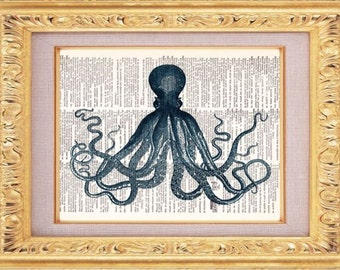 BOGO SALE Octopus Print, Dictionary Print, Vintage Book Art, upcycled art