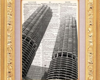 Marina Towers Chicago Vintage Dictionary Print Vintage Book Print Page Art  Vintage Book Art