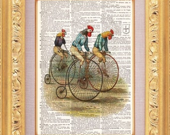 Chicken Bicycle Race Vintage Dictionary Print Vintage Book Print Page Art Upcycled Vintage Book Art