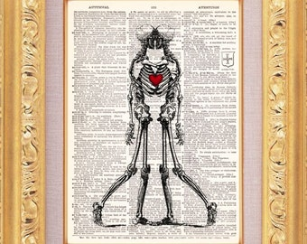 Two Souls One Heart - Steampunk Anatomy Art Print-  Vintage Dictionary Print Vintage Book Print Page Art Upcycled