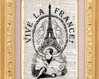 Paris Eiffel Tower Vintage Dictionary Print Vintage Book Print Page Art Upcycled Vintage Book Art