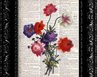 Vintage Flowers Dictionary Print Vintage Book Print Page Art Upcycled Vintage Book Art
