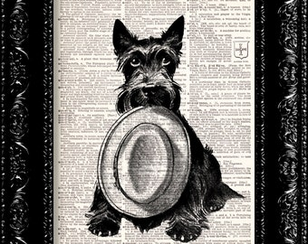 Scottish Terrier Vintage Dictionary Print Vintage Book Print Page Art Upcycled Vintage Book Art