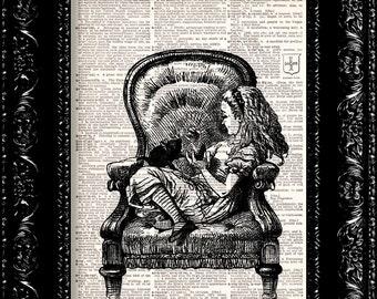 Alice In Wonderland Vintage Dictionary Print Vintage Book Print Page Art Upcycled Vintage Book Art
