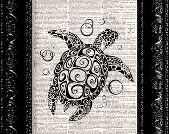 Art Deco Turtle - Vintage Dictionary Print Vintage Book Print Page Art Upcycled Vintage Book Art