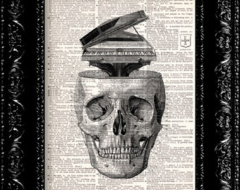 Music On The Brain Skull - Vintage Dictionary Print Vintage Book Print Page Art Upcycled Vintage Book Art