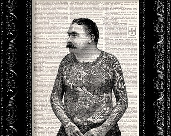Tattoo Man - Vintage Dictionary Print Vintage Book Print Page Art Upcycled Vintage Book Art