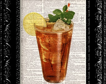 Sweet Tea - Vintage Dictionary Print Vintage Book Print Page Art Upcycled Vintage Book Art