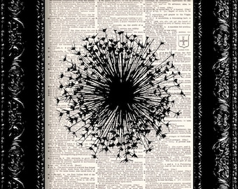 Wish Stick Dandelion - Vintage Dictionary Print Vintage Book Print Page Art Upcycled Vintage Book Art