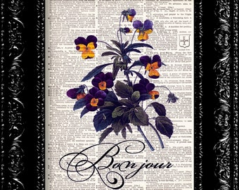 Paris Bonjour Purple Flowers Vintage Dictionary Print Vintage Book Print Page Art Upcycled Vintage Book Art