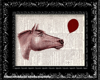 Balloon Horse - Vintage Dictionary Print Vintage Book Print Page Art Upcycled Vintage Book Art