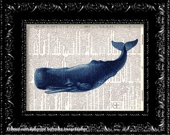 Blue Whale - Vintage Dictionary Print Vintage Book Print Page Art Upcycled Vintage Book Art