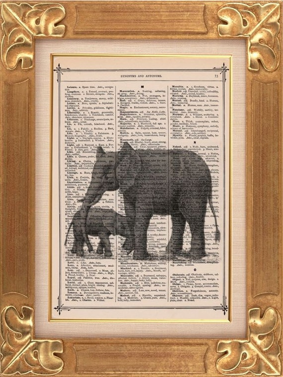 Elephant Mommy and Baby Vintage Dictionary Print Vintage Book Print Page Art Upcycled Vintage Book Art