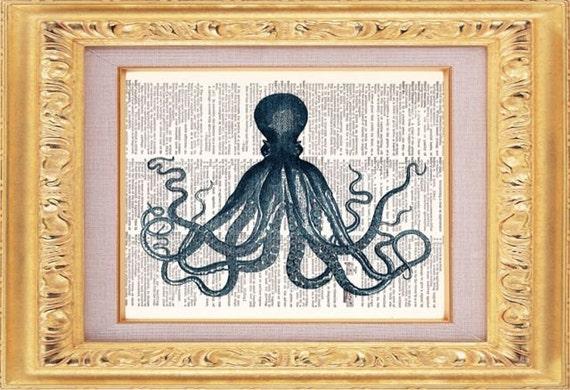 BOGO SALE Octopus Print, Dictionary Print, Vintage Book Art, upcycled art