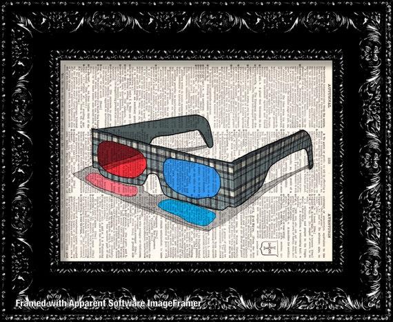 3D Glasses - Vintage Dictionary Print Vintage Book Print Page Art Upcycled Vintage Book Art
