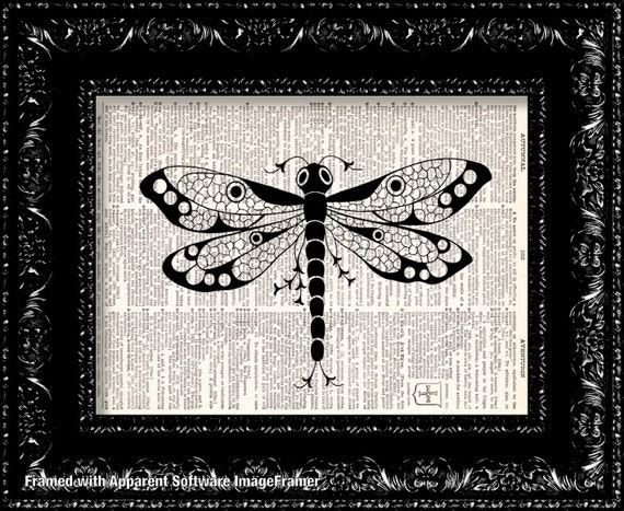 Dragonfly Vintage Dictionary Print Vintage Book Print Page Art Upcycled Vintage Book Art