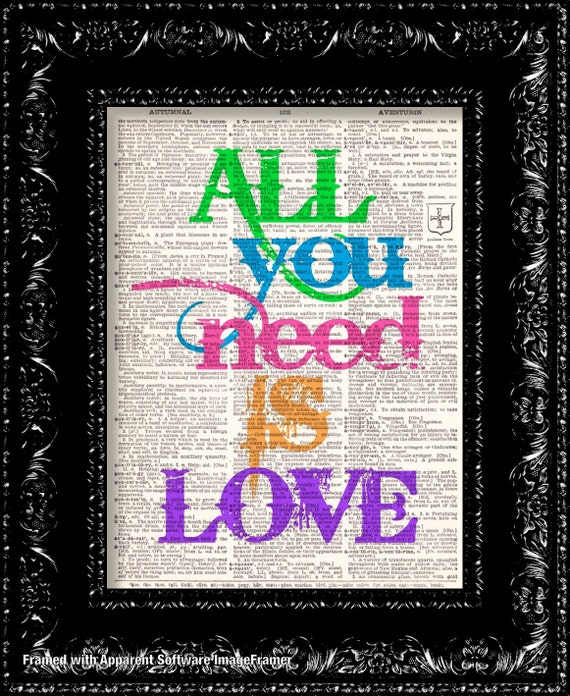Beatles All You Need Is Love Vintage Dictionary Print Vintage Book Print Page Art Upcycled Vintage Book Art