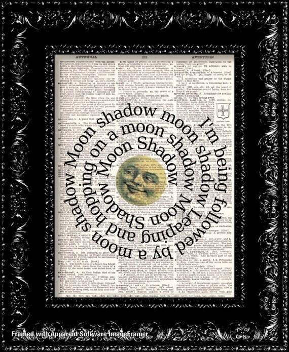 BOGO Sale  Cat Stevens Moon Shadow Lyrics Vintage Dictionary Print Vintage Book Print Page Art Upcycled Vintage Book Art
