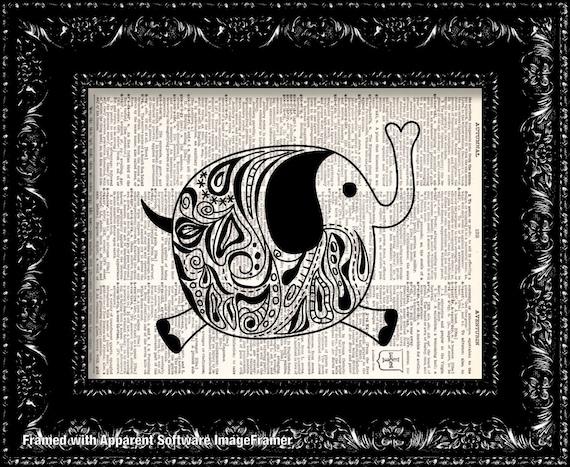 Art Deco Elephant Vintage Dictionary Print Vintage Book Print Page Art Upcycled Vintage Book Art