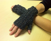 SALE ... Crochet gloves, black/silver sparkle fingerless eveningwear.  FREE international shipping