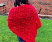 FINAL REDUCTION ... Scarlet Showers red shawl, hand crocheted in mohair/wool mix, warm and cosy.