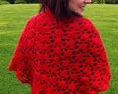SALE ... Warm red shawl, hand crocheted in mohair/wool mix, stylish fan trellis stitch.