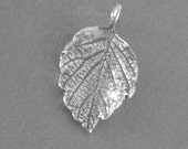 silver leaf charm sterling silver findings hand cast natural leaf  LC005