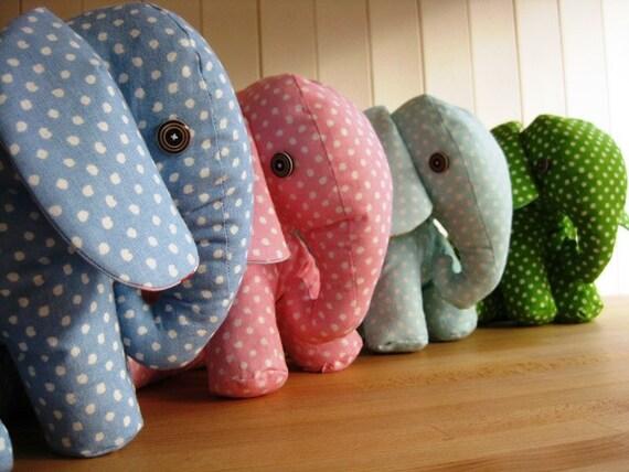 Handmade Elephant Door Stopper Stops Dotty Fabrics Pink Blue