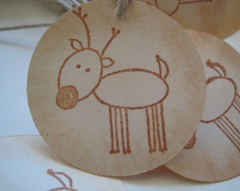12 Rudolph gift tags
