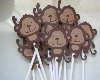 12 monkey cupcake toppers