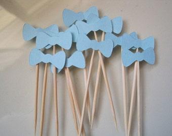 12 blue bow tie toothpicks