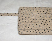 3 Yards Speckled Tan With Navy Blue Stars Design Pattern Double Fold Bias Tape