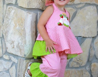 Boutique Strawberry Cupcake Birthday Ruffled Halter Shirt and Ruffle Pant Sizes 12M to 5T