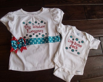 Boutique Dots Lil SiS or Bro Bodysuit and Big sis or Bro Shirt  Size 0 to 6M For the Gown and 6M to 14 youth for the Shirt